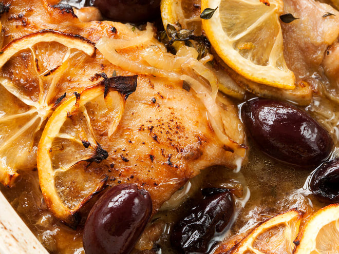 Stove top chicken with olives